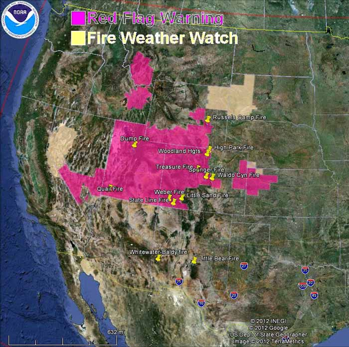 Red Flag Warnings for wildfires, June 24, 2012