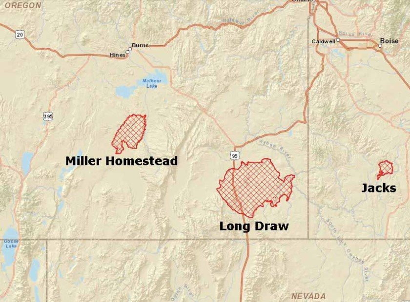 Map of Homestead and Long Draw fires