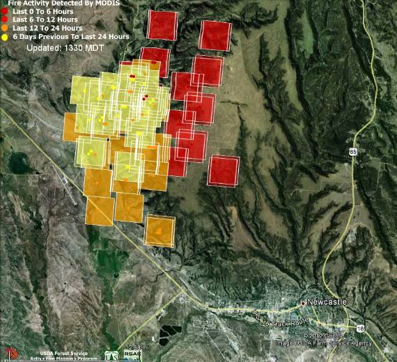 Map of Oil Creek Fire, 11:23 a.m. MT, July 1, 2012