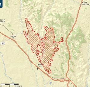 Wyoming: Oil Creek fire grows to 20,000 acres, Osage evacuated
