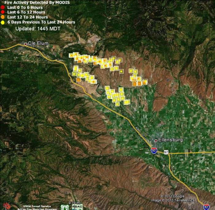 Map, Taylor Ridge fire, August 15, 2012