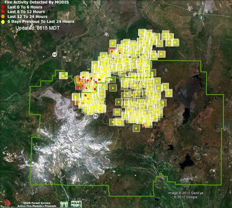 Map of Reading Fire in Lassen NP