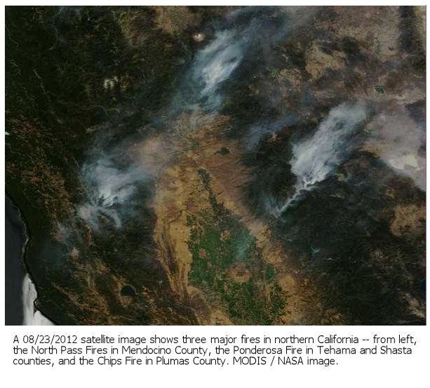 Northern California fires - satellite shot