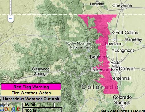 Red Flag Warning, Colorado, Jan. 23-24, 2013