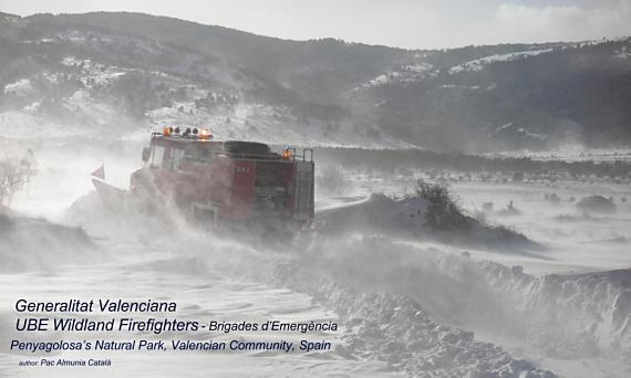 Fire engine plowing snow in the East of Spain
