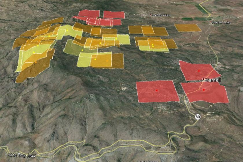 3-D map of Yarnell Fire at 3:10 a.m. MDT, July 1, 2013