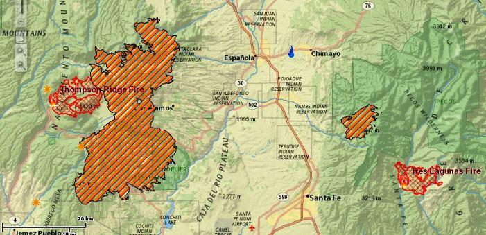 Map Thompson Ridge - Tres Lagunas Fires