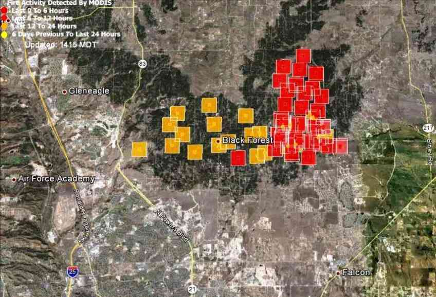 Map Of Black Forest Fire At 12 01 P M Mt June 12 2013 Wildfire