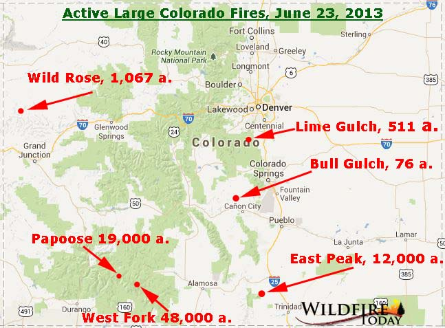 Fires Colorado Map.Map Of Wildfires In Colorado June 23 2013 Wildfire Today