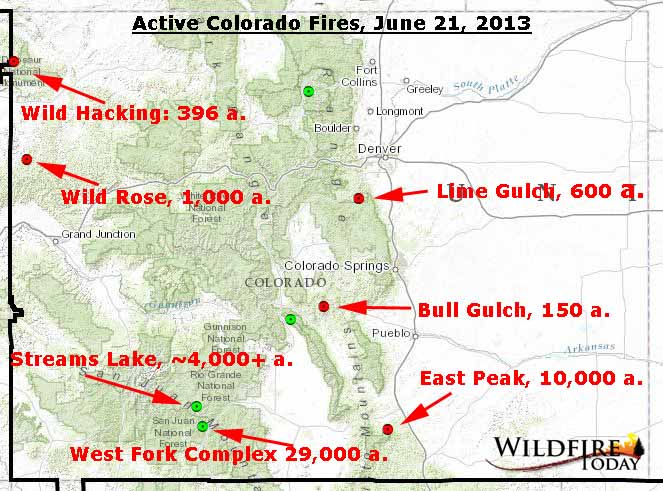 Patrick orton/getty images during wildfire season in north america, it's imperative t. Map Of Active Fires In Colorado June 21 2013 Wildfire Today