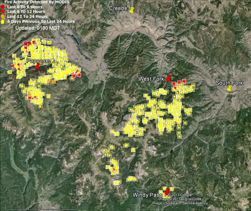 Map of West Fork Complex at 11:21 p.m., June 26, 2013