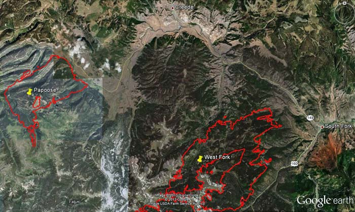 Map of West Fork and Papoose Fires, 12:30 a.m. MDT, June 23, 2013