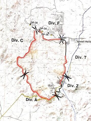 This map of the Yarnell Fire was used in a public meeting July 2, 2013. The time that the data was acquired, is not known; it may have been prepared before the updated data in the other two maps above was obtained.