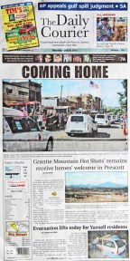 The Prescott newspaper covers the Granite Mountain 19
