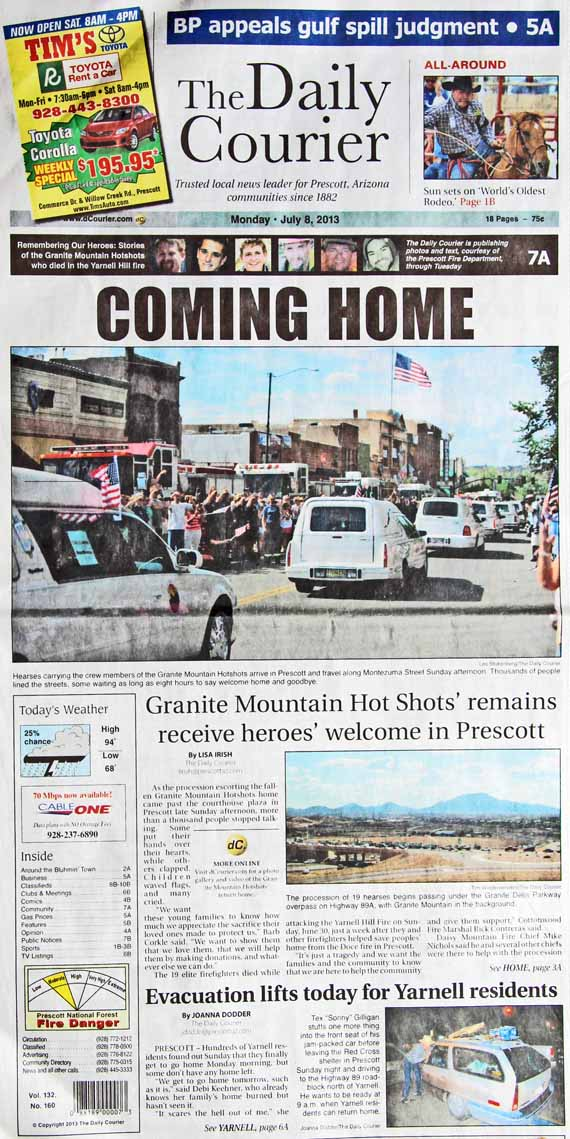 Prescott's Daily Courier, front page