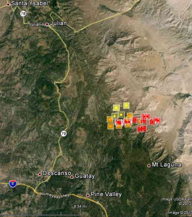 map of Chariot Fire near Mt. Laguna