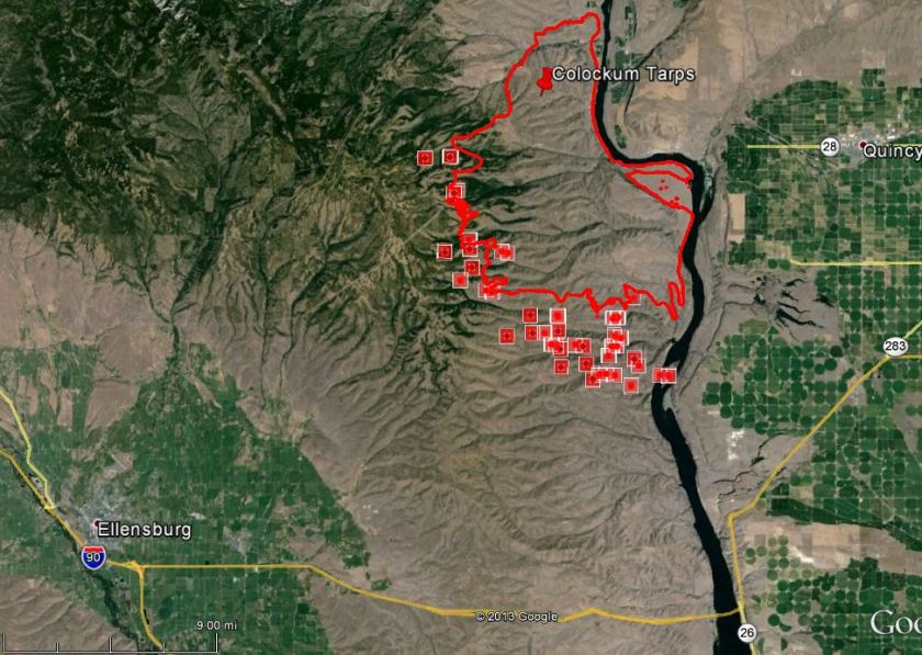 Map of Colockum Fire at 2:25 p.m. PDT July 30, 2013