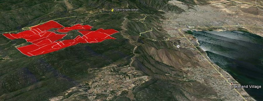 3-D Map of Falls Fire at 1:47 p.m. PDT, August 5, 2013