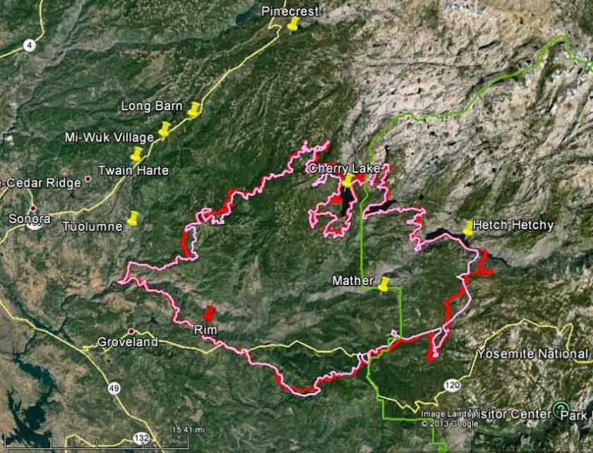 Map of Rim Fire August 29, 2013