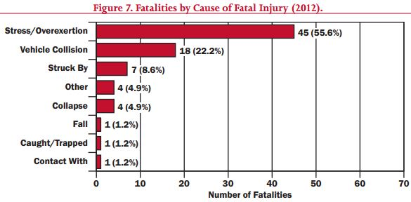 Cause of firefighter fatalities. FEMA.