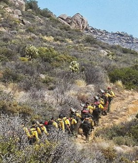 Granite Mountain Hotshots hike to the Yanrell Hill fire