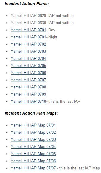 Yarnell Hill Fire, list of IAPs and maps