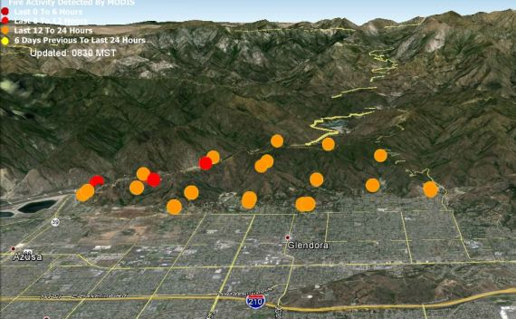 Map of Colby Fire at 2 a.m. PST, January 17, 2014