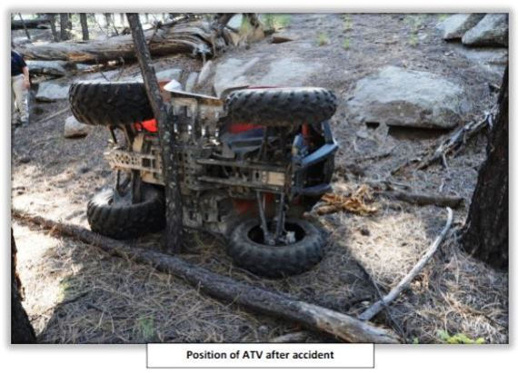position of ATV after accident