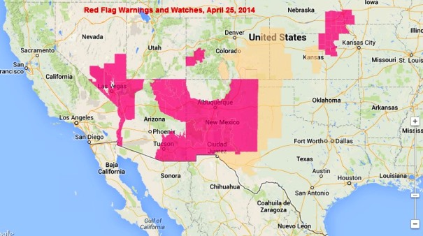 wildfire Red Flag Warnings, April 25, 2014