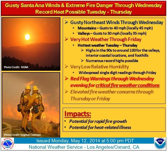 Fire weather warning, southern California May 12, 2014