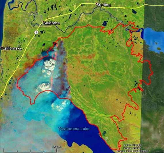 Funny River Fire, Landsat