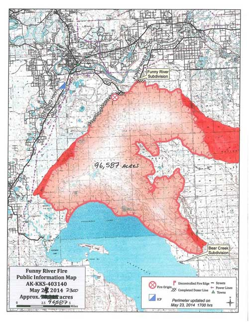 Map of Funny River Fire, May 24, 2014