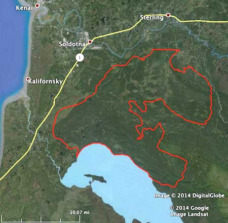 Funny River Fire map, May 25, 2014