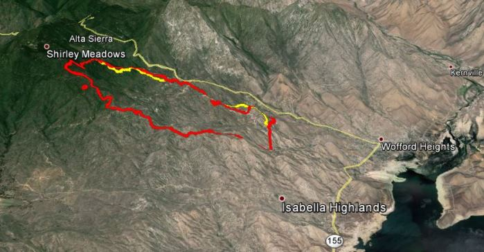 Lake Isabella Fire Map.Shirley Fire Near Lake Isabella California Wildfire Today