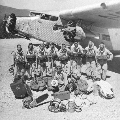 typical smokejumpers Mann Gulch Fire Ford Trimotor aircaft