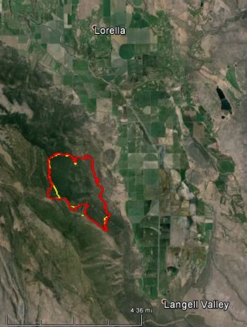 Map of Bryant Fire, at 9 pm, June 21, 2014