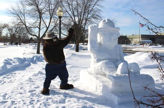 Smokey Bear snow sculpture