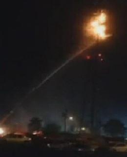 Cell tower fire sky lantern