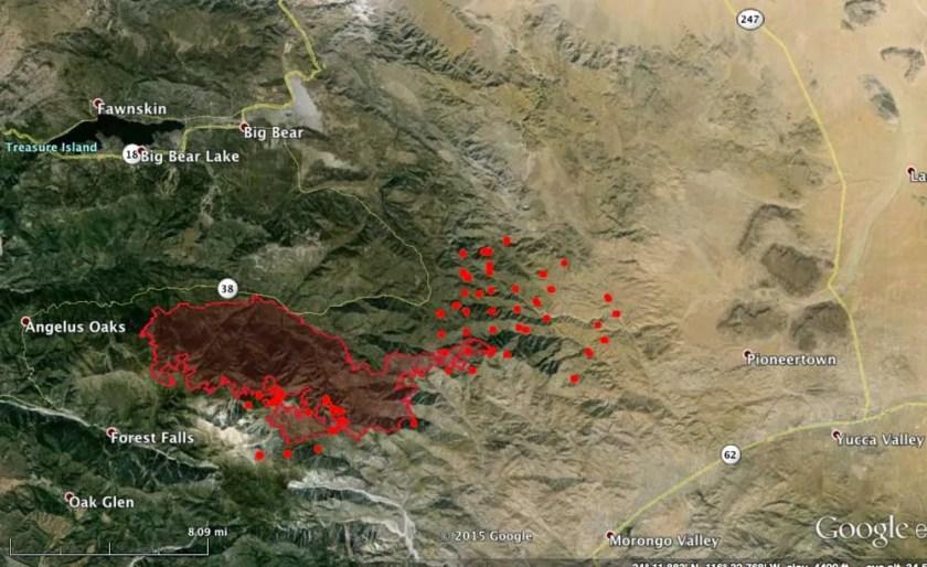 Lake Fire Map 1210 am PT June 25 2015