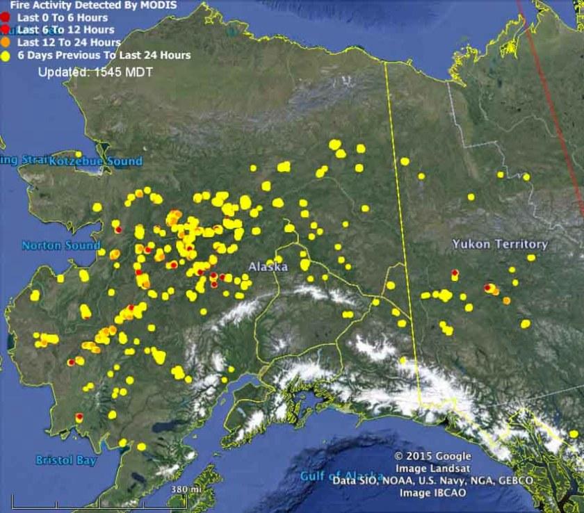 Map of Alaska Fires June 29, 2015