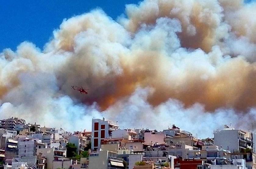 air crane fire Athens Greece