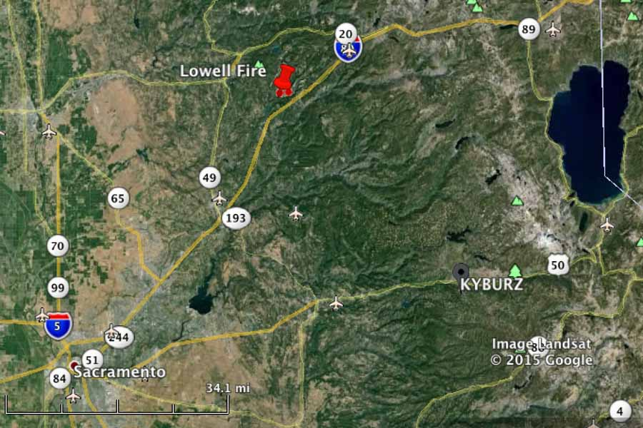 California Lowell fire causing evacuations east of Grass