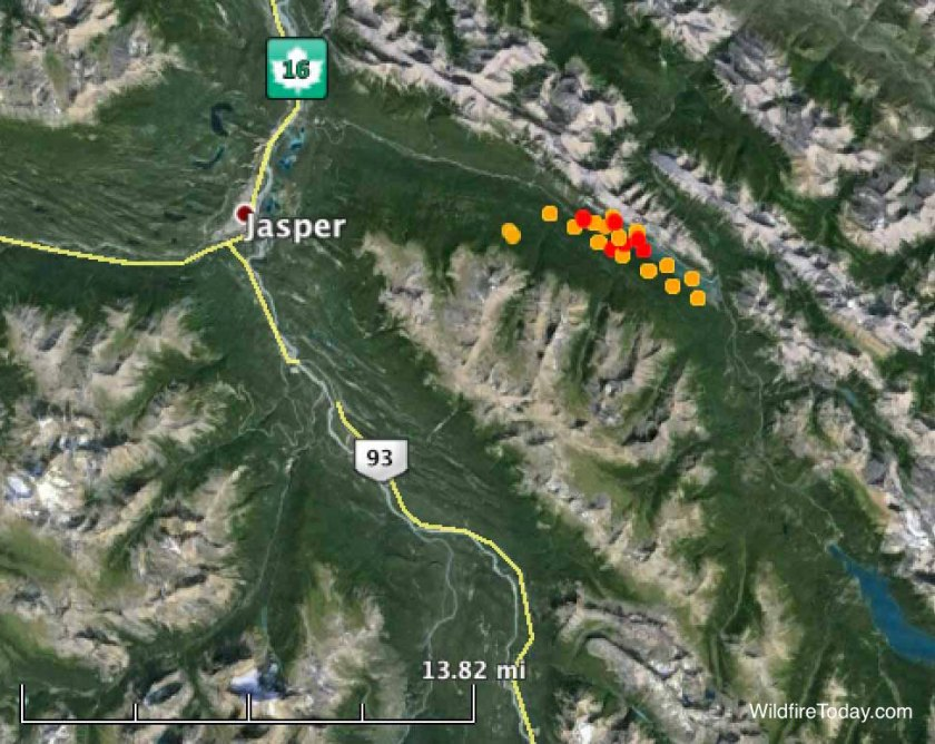 Map of fire in Excelsior Creek