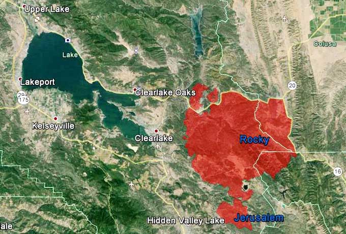 Jerusalem Fire Near The Rocky Fire In California Wildfire Today