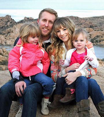 L-R: Brendon's daughter Michaela, Brendon, Ali, and her daughter Zoe.