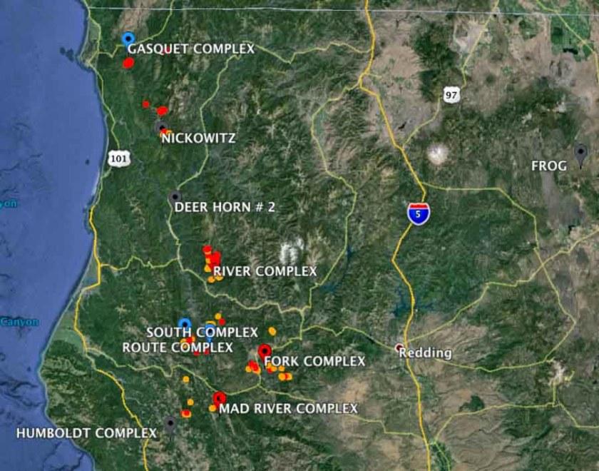 map wildfires in northwest California