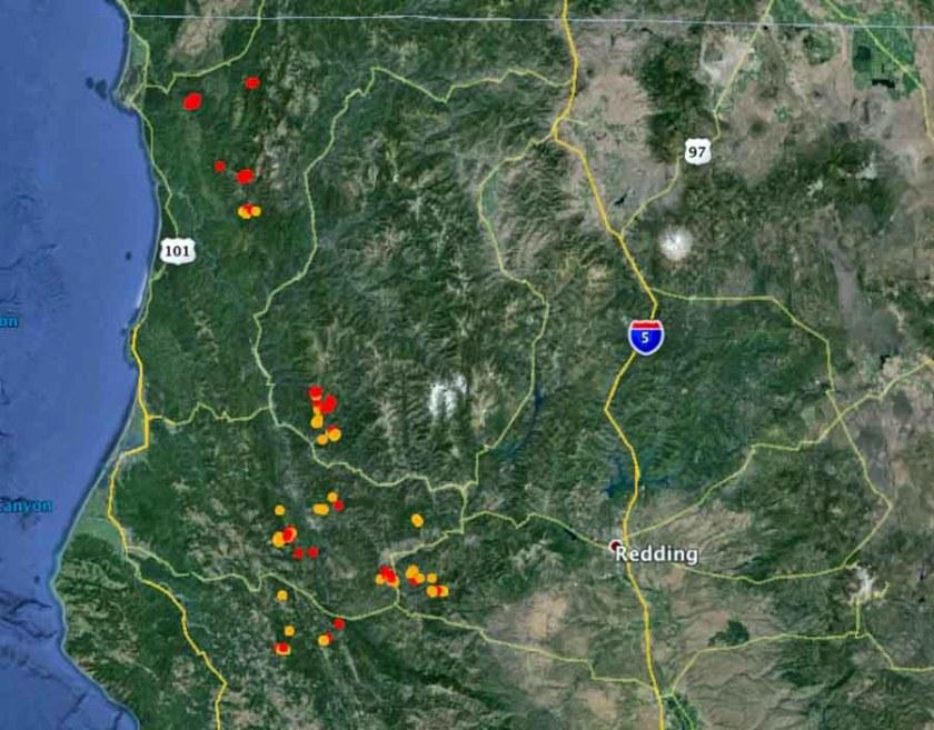wildfires in northwest California