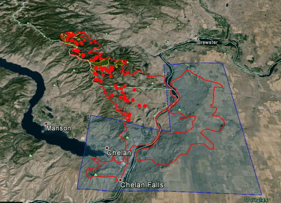 Chelan Complex fire perimeter as of Aug. 24, 2015.