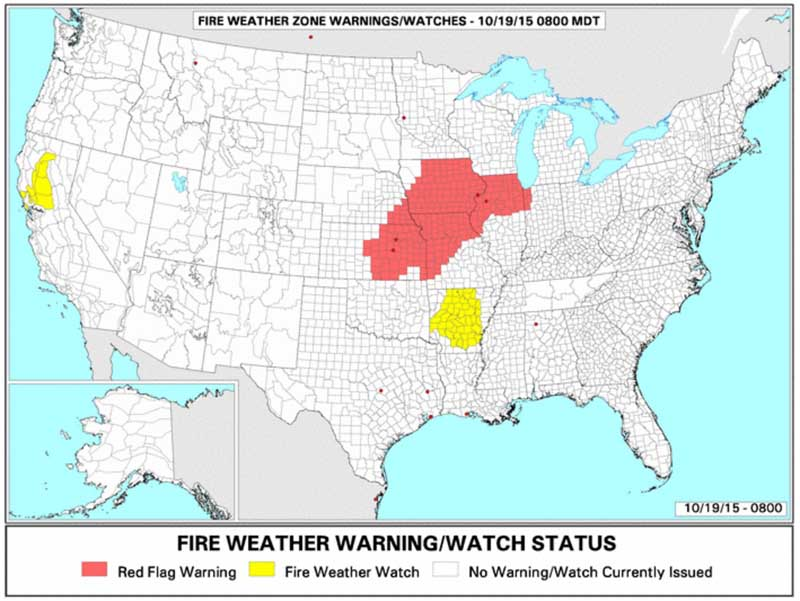 wildfire Red Flag Warnings 10-19-2015
