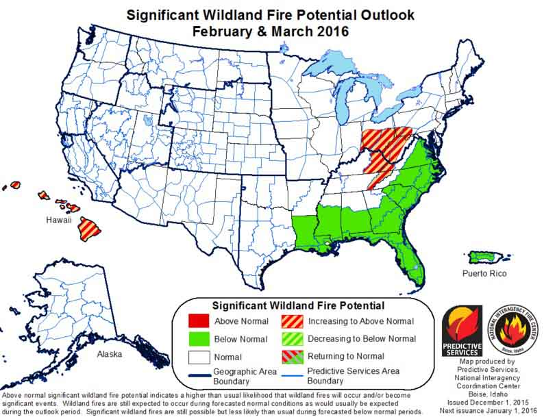 February-March 2016 wildfire Outlook